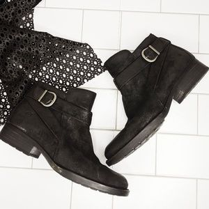 Born Distressed Leather Moto Buckle Booties